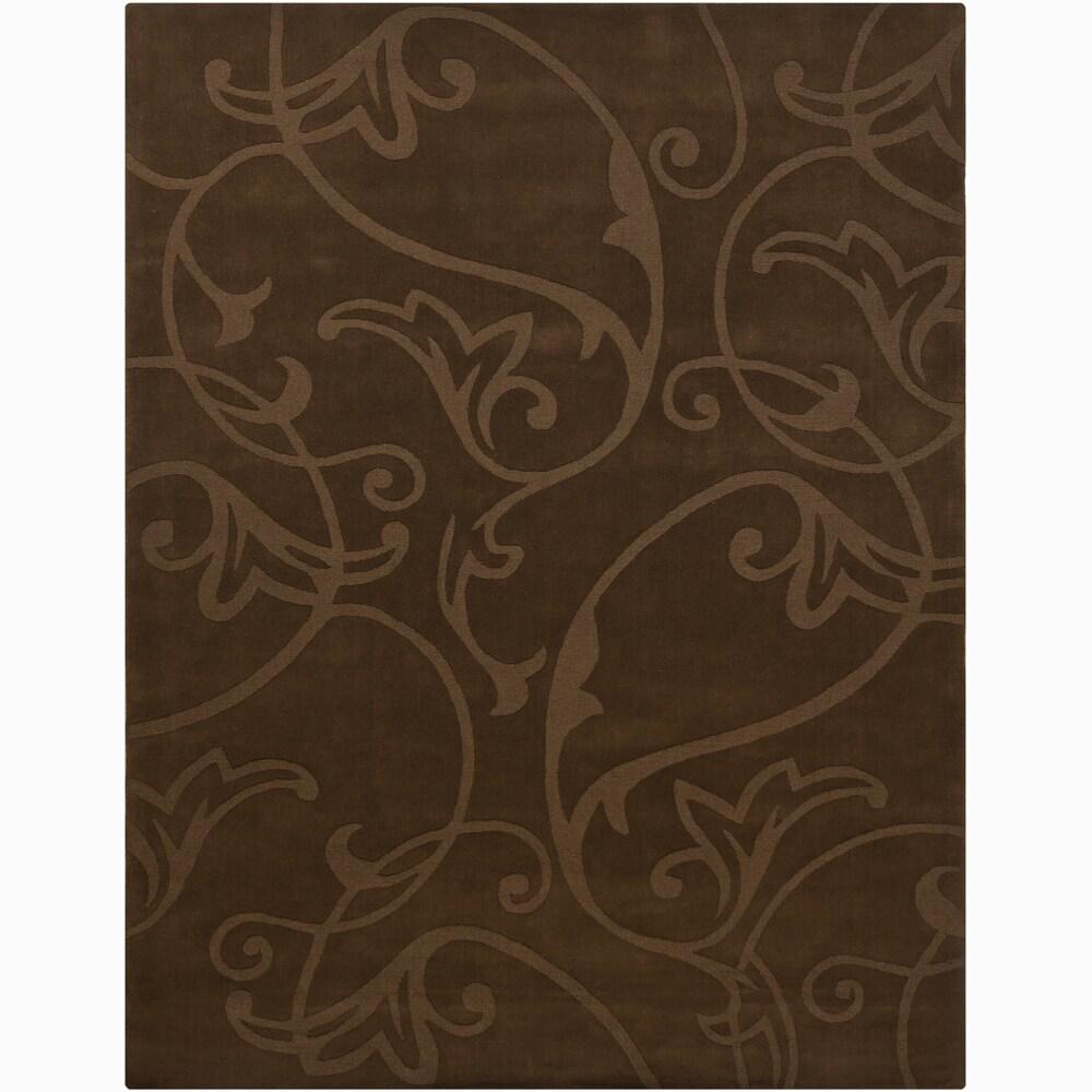 Hand-tufted Mandara Brown Wool Rug (6' x 9')