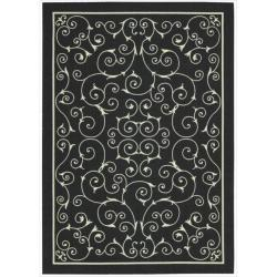 Nourison Home and Garden Casual Black Floral Indoor/Outdoor Rug (7'9
