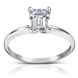 Annello 14k White Gold 1ct TDW Diamond Solitaire Engagement Ring (H-I, SI1-SI2) with Bonus Item