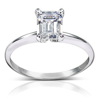 Annello 14k White Gold 1ct TDW Diamond Solitaire Engagement Ring (H-I, SI1-SI2)