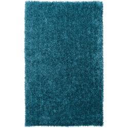 Hand-Woven Blue Ferta Polyester Soft Shag Rug (8' x 10')
