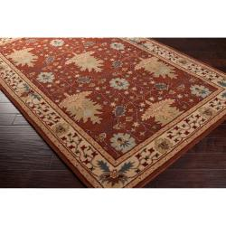 Hand-tufted Burgundy Traditional Bordered Sandy Dunes Wool Rug (8' x 11')