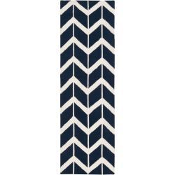 Jill Rosenwald Hand-woven Blue Faller Wool Rug (2'6 x 8')