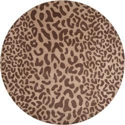 Hand-tufted Brown Leopard Castara Animal Print Wool Rug (4' Round)