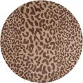 Hand-tufted Tan Leopard Castara Animal Print Wool Rug (4' Round)