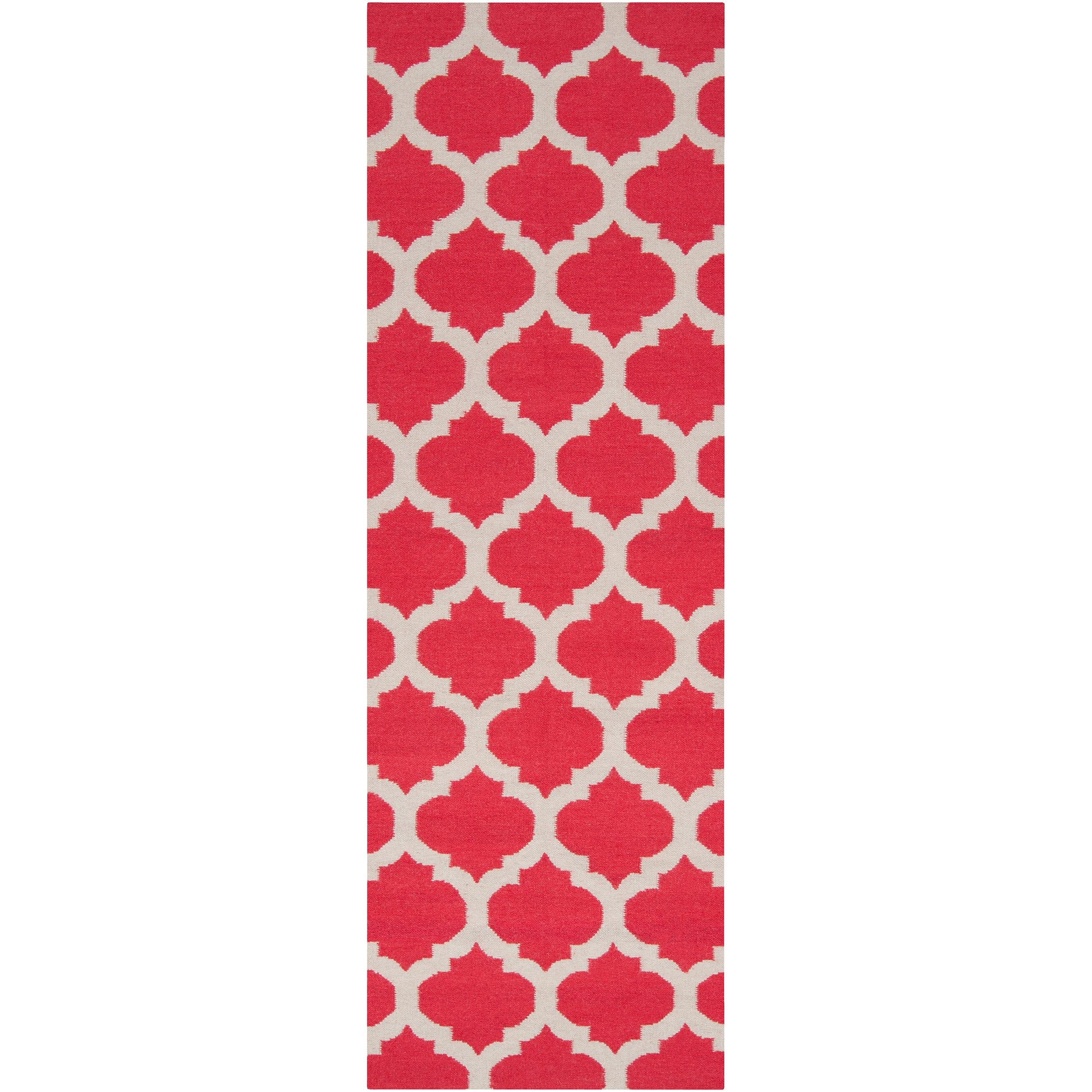 Hand-woven Red Caroni Wool Rug (2'6 x 8')