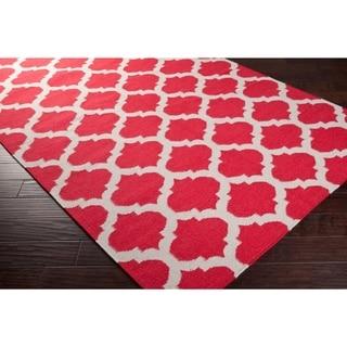 "Hand-woven Red Caroni Wool Area Rug - 2'6"" x 8' Runner/Surplus"