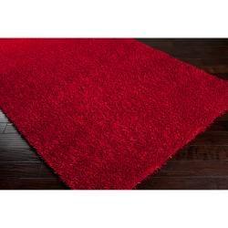 Hand-woven Red Ferta Soft Shag Rug (8' x 10')