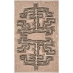 Hand-hooked Yarra Brown Indoor/Outdoor Geometric Rug (9' x 12')