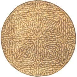 Hand-tufted Belle Towers Green New Zealand Wool Rug (8' Round)