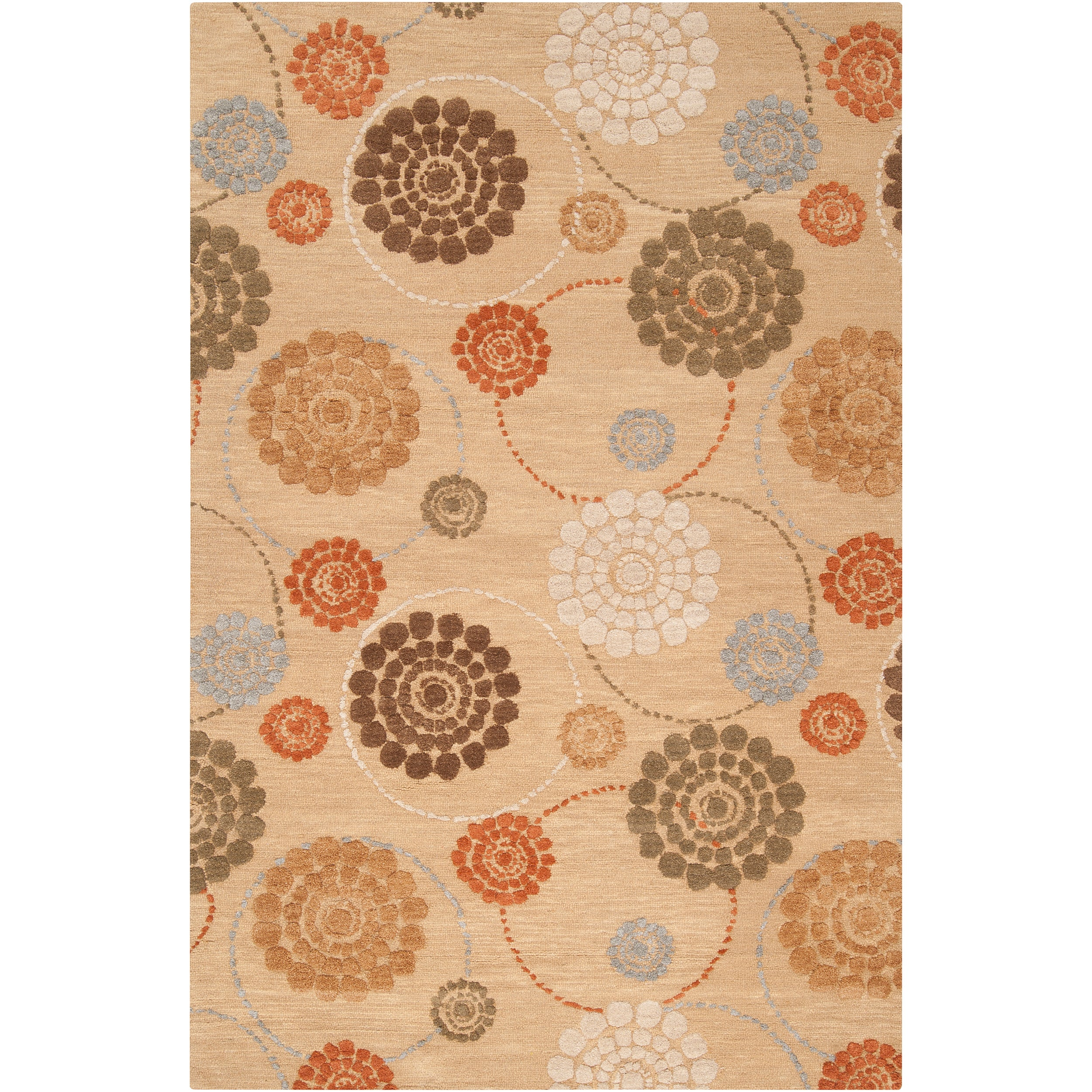 Hand-tufted Belle Towers Orange New Zealand Wool Rug (9' x 13')