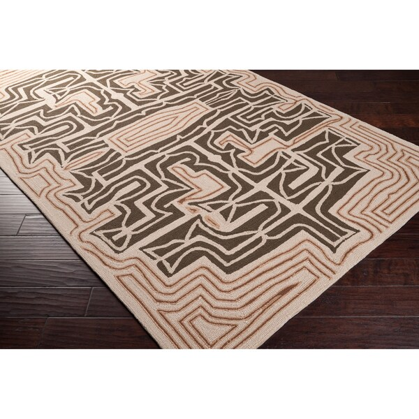 Hand-hooked Yarra Brown Indoor/Outdoor Geometric Rug (5' x 8')