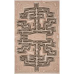 Hand-hooked Yarra Brown Indoor/Outdoor Geometric Rug (3' x 5')