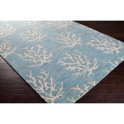 Somerset Bay Hand-tufted Bacelot Bay Blue Beach Inspired Wool Rug (8' x 11')