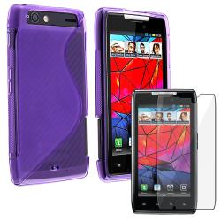 Purple TPU Case/ Screen Protector for Motorola Droid Razr XT910/ XT912