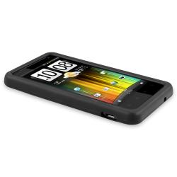 INSTEN Black Soft Silicone Phone Case Cover/ Screen Protector for HTC Vivid