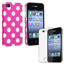 Pink with Dot Case/ Anti-Glare Screen Protector for Apple iPhone 4/ 4S