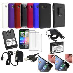 BasAcc Rubberized Cases/ Leather Pouch/ Car Travel Charger/ Battery/ Cable/ Mega Accessory Set HTC Desire HD Inspire 4G