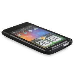 INSTEN Black/ Pink/ White Rubber Phone Case Cover/ Screen Protector for HTC Inspire 4G