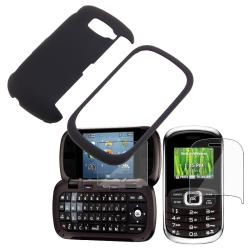 Black Rubber Case/ 2-LCD Kit Screen Protector for LG VN530 Octane