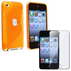 Orange TPU Case/ Screen Protector for Apple iPod Touch Generation 4