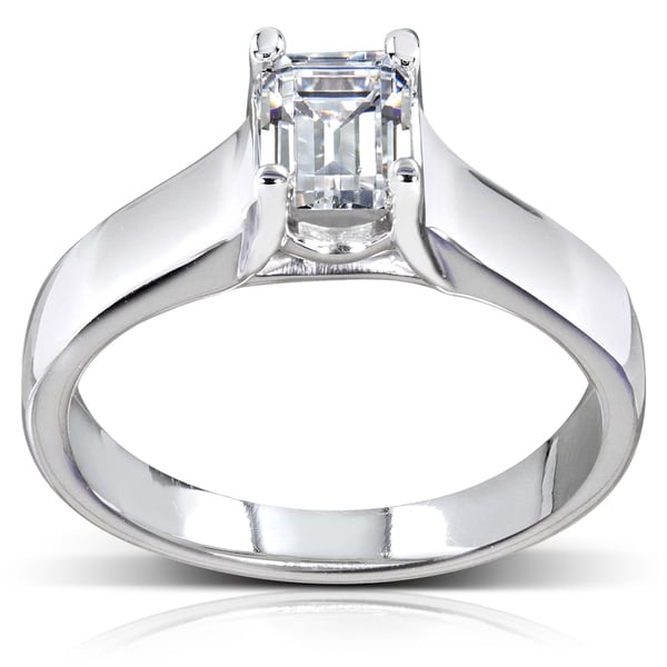 Annello 14k White Gold 1ct TDW Emerald Cut Solitaire Diamond Ring (H-I, SI1-SI2)