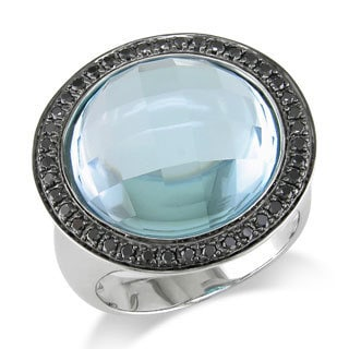 Miadora Signature Collection 14k White Gold 18ct Sky Blue Topaz and 1/3ct TDW Black Diamond Ring