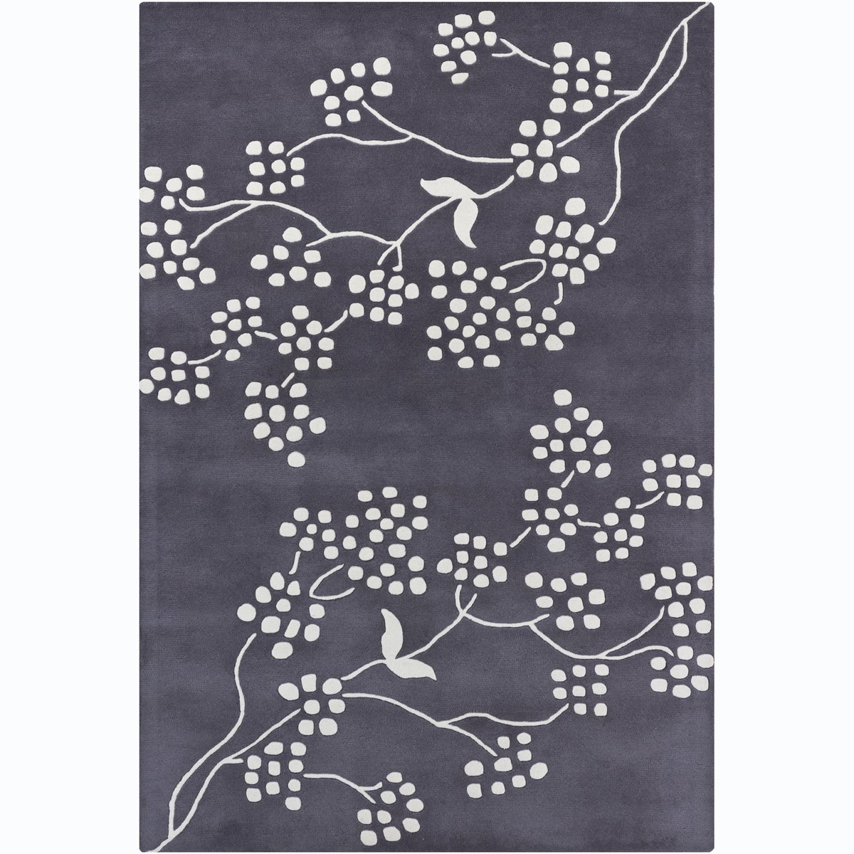 Hand-Tufted White/Dark Gray Mandara Multicolor Floral Wool Rug (7' x 10')
