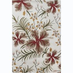Hand-Tufted Contemporary Mandara Floral Wool Rug (5' x 7')