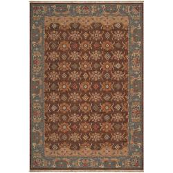 Hand-knotted Brown Smokehouse D New Zealand Wool Rug (4' x 6')
