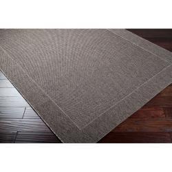 Woven Gray Indoor/Outdoor Border Rug (3'11 x 5'7)