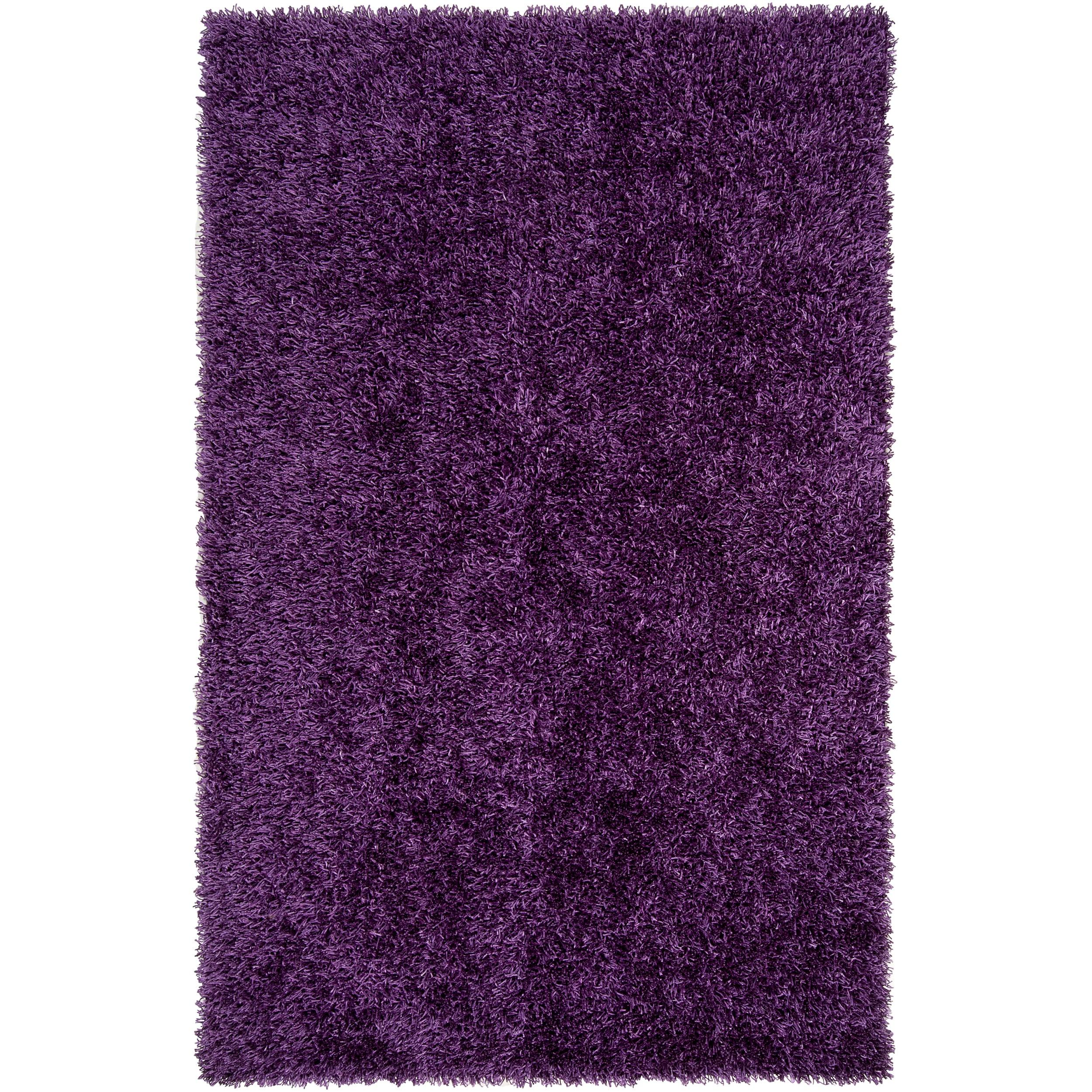 Hand-woven Purple Ferta Soft Shag Rug (5' x 8')