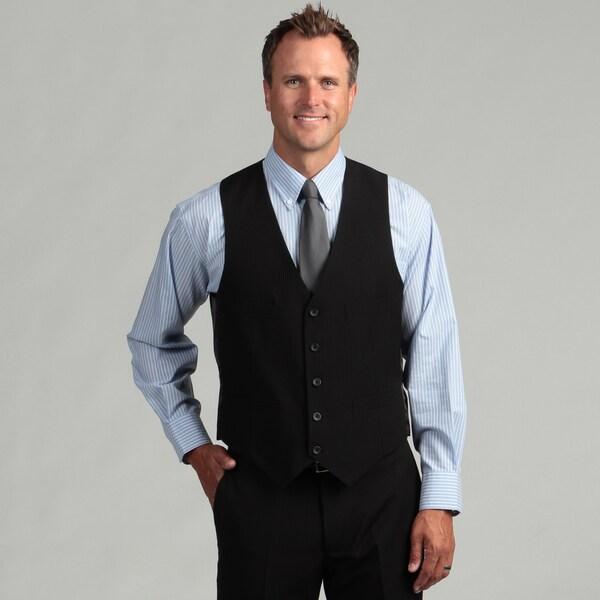 Kenneth Cole Reaction Men's Slim Fit Black Stripe Suit Separate Vest