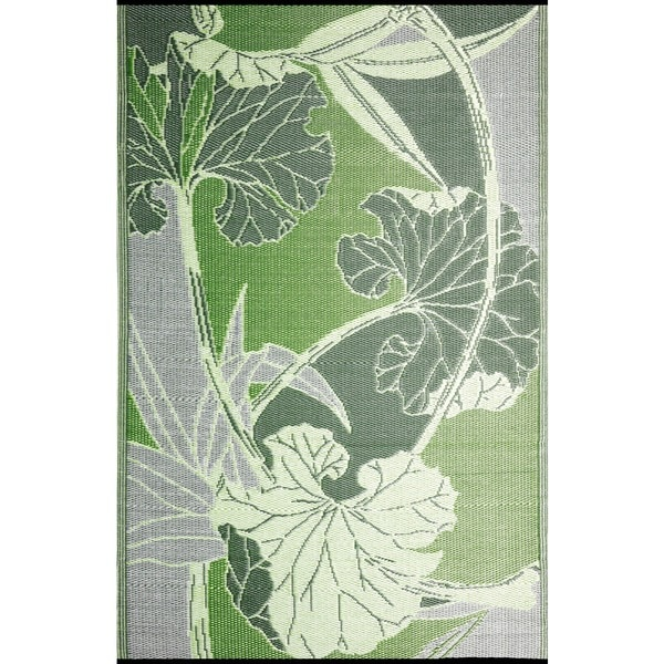 b.b.begonia Blossom Reversible Design Green and Grey Outdoor Area Rug (6' x 9')