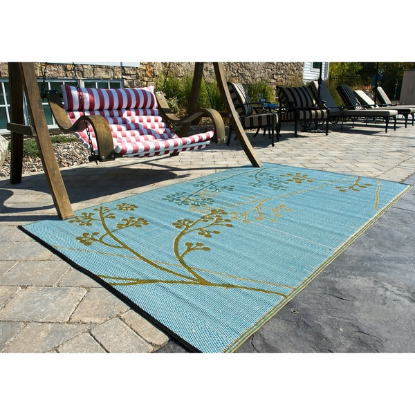 b.b.begonia Fernando Reversible Design Olive and Blue Outdoor Area Rug (6' x 9')