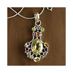 Sterling Silver 'Regal Blossom' Multi-gemstone Necklace (India)