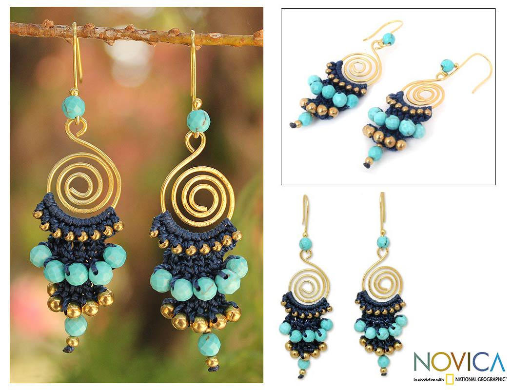 Gold Overlay and Brass 'Blue Spiral' Calcite Earrings (Thailand)