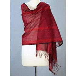 Cotton 'Scarlet Gujarat' Shawl (India)