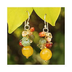 Sterling Silver 'Flow' Multi-gemstone Pearl Earrings (4 mm) (Thailand)