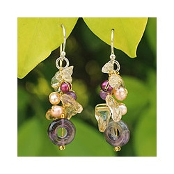 Sterling Silver 'Love' Multi-gemstone Pearl Earrings (4 mm) (Thailand)