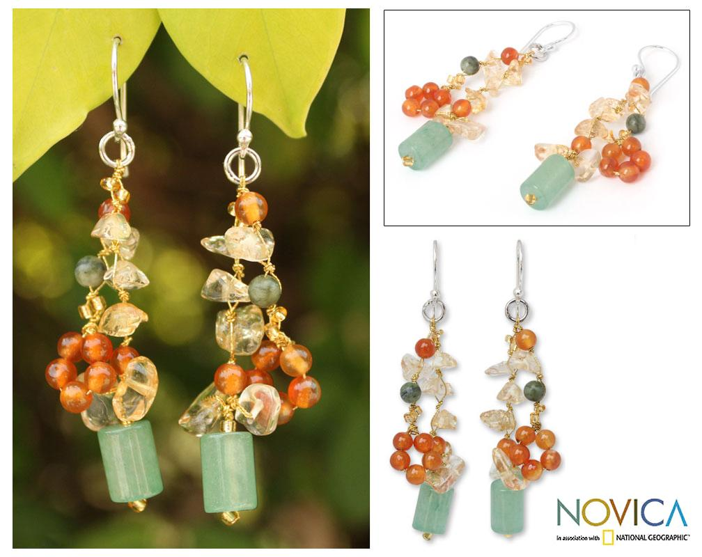Sterling Silver 'Forest Love' Multi-gemstone Earrings (Thailand)