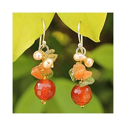 Sterling Silver 'Glow' Multi-gemstone Pearl Earrings (4 mm) (Thailand)