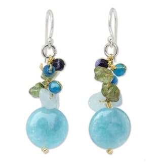 Handcarfted Sterling Silver Azure Joy Multi-gemstone Blue Beaded Earrings (Thailand)
