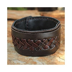 Leather Men's 'Riddle in Brown' Bracelet (Thailand)