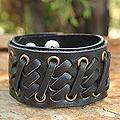 Leather Men's 'Bold Black' Bracelet (Thailand)