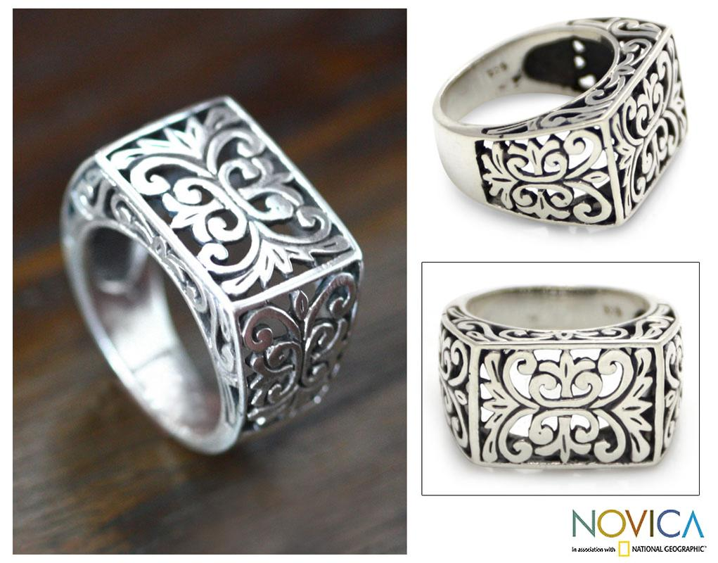 Emperor Balinese Handmade Artisan Open Work 925 Sterling Silver Mens Ring (Indonesia)
