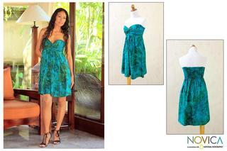 Rayon 'Java Emerald' Batik Dress (Indonesia)