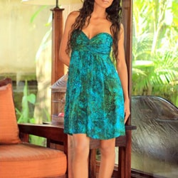 Rayon 'Java Emerald' Batik Dress (Indonesia)