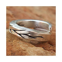 Men's Silver 'Hill Tribe Braid' Wrap Ring (Thailand)