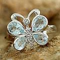 Sterling Silver 'Butterfly' Blue Topaz Cocktail Ring (India)